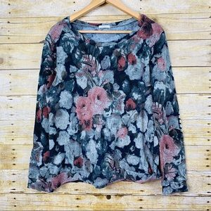 12PM by Mon Ami Floral Sweater Elbow Patches Large